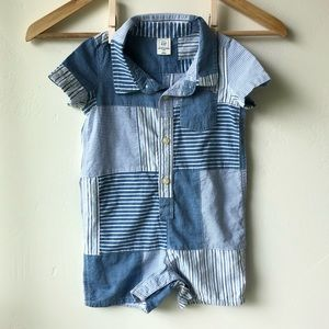 Baby Gap Patch Striped Romper Size 12-18 Month